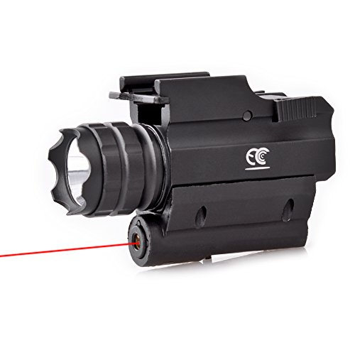 MCCC Tactical Red Laser Sight with 500 Lumens CREE LED Flashlight, Compact Rail Mounted, Quick Release, 1XCR123A Battery (Included)