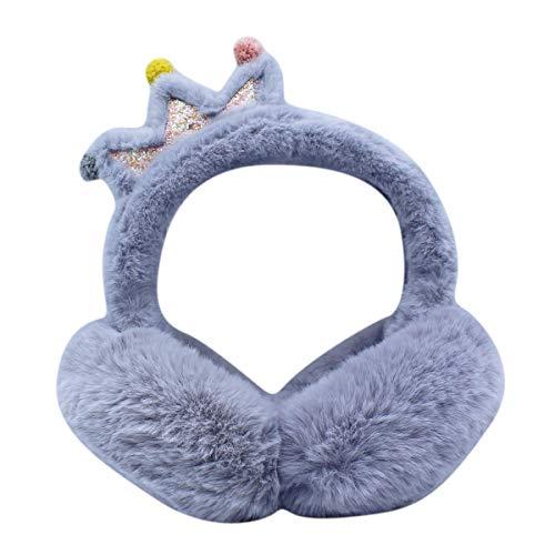 Bonita diadema plegable de pelo con forma de corona para las orejas, calentador térmico de invierno para niños, niñas y mujeres, Gris, Talla única