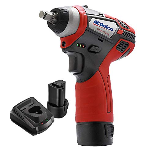 """ACDelco 3/8"""" Power Impact Wrench 90ft-lbs LED Light Cordless Li-ion 12V Max Compact Tool, Kit with 2 Batteries, Charger, G12 Series – ARI12104"""