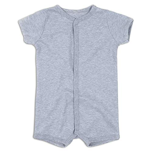 DEFAHN Baby Boy Girl Rompers Solid Infant Short Sleeve Pajamas Unisex Cotton Summer Creeper for 0-24 Months (Grey, 3-6 Months)