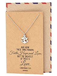 faith, hope and love necklace on brown display card