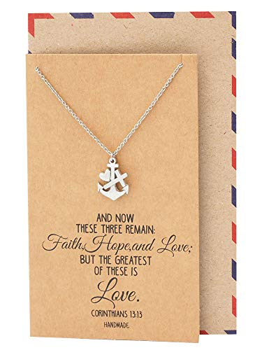 Quan Jewelry Faith Hope and Love Necklace with Heart Anchor Cross Crucifix Pendant, Nautical Pirate Inspired Charm, Religious Jewelry, Gifts for Women with Inspirational Quote on Greeting Card