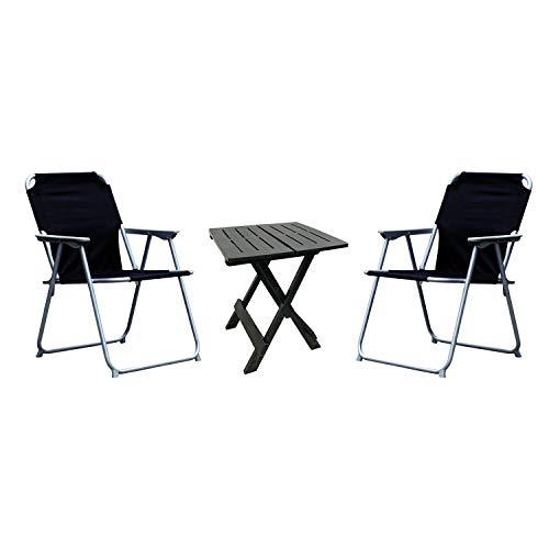 Mojawo 3-TLG. Camping Set 1x Beistelltisch Anthrazit Gartenmöbel + 2 STK. Campingstuhl Klappstuhl schwarz