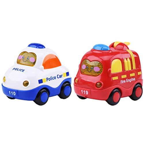 LUOEM Juego de 2 Piezas de Juguete de Coche Retráctil Coche de Policía Camión de Bomberos Camión de Tracción Y Juguetes de Coche para Grils Favores de Fiesta para Niños