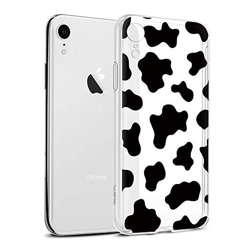ZhuoFan Funda para iPhone XR,6.1'' Transparente Silicona Caso Carcasa de telefono Suave TPU Slim Ultrafina Clear Protectora Bumper Case Cover Movil Cárcasa Fundas para iPhoneXR,Patrón de Vaca