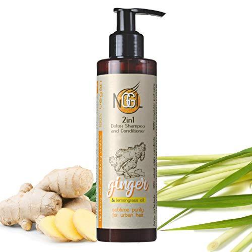 NGGL Shampooing et après-shampooing 2-en-1 détoxifiant et purifiant vegan, enrichi en extrait de gingembre et huile de citronnelle, 200 ml