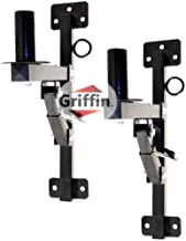 Premium PA Speakers Wall Mount Brackets By GRIFFIN   Set Of 2 All Steel Pro-Audio Speaker 35mm Pole Holder   Securing Locking Pin & 3 Horizontal Level Tilt Adjustments   On Stage Studio Monitor Stands