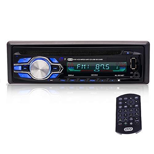 YYKJ 1 DIN Autoradio - Indash DVD Bluetooth Autoradio Unterstützung Aux USB SD MP3 Autoradio VCD CD-Player, 1 Din Car Audio Head Unit mit Fernbedienung