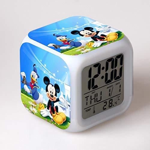 TYWFIOAV Heißer Disney Mickey Minnie Cartoon Wecker niedliche Kinder wachen Licht digitaler Wecker Kinder Spielzeug LED Uhr Farbuhr auf