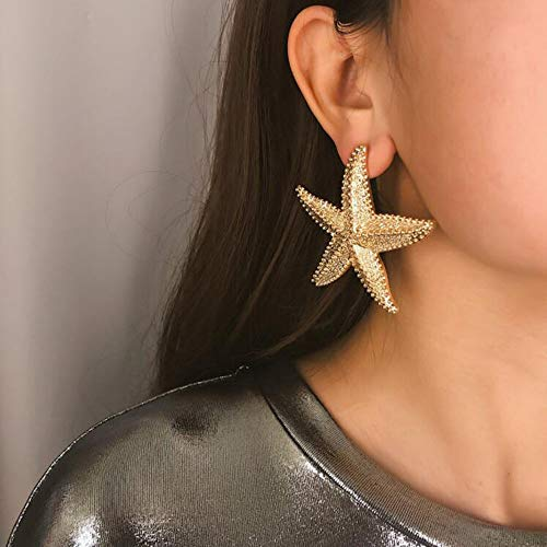 BERYUAN Silver Halloween Starfish Earrings Gold Star Earrings for Women Fashion Jewelry Casual Women Accessories for Bridesmaids Gift and Women Girls (Gold)