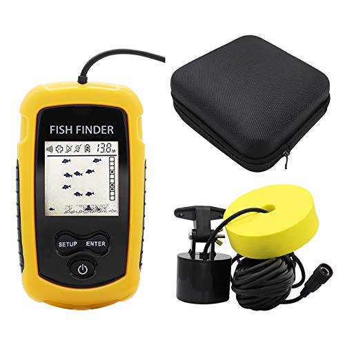 RICANK Portable Fish Finder with Hard Travel Case, Handheld Fish Depth...