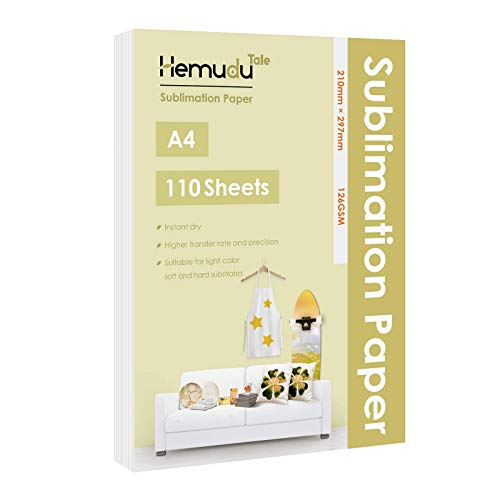 Hemudu Tale Sublimation Paper 110 Sheets 8.3x11.7 for Heat Transfer DIY Gift A4 Compatible with Any Inkjet Printer with Sublimation Ink