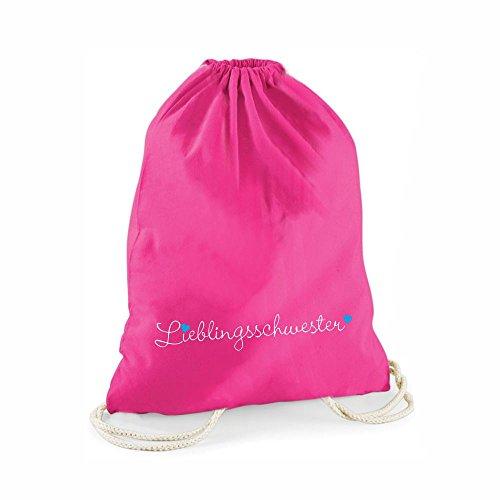 Statement-Turnbeutel in pink Lieblingsschwester- Gym-Bag Rucksack Hipster Beutel mit Spruch Tasche Jutebeutel Gymsac Sportbeutel