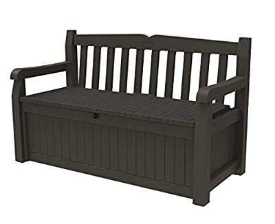 Keter Solana 70 Gallon Storage Bench Deck Box for Patio Furniture, Front Porch Decor and Outdoor Seating – Perfect to Store Garden Tools and Pool Toys, Brown