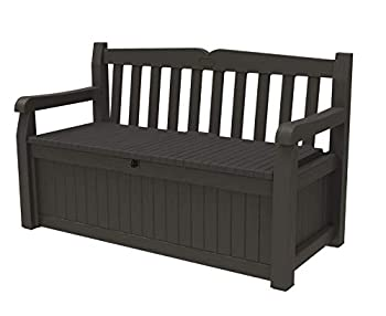 Keter Solana 70 Gallon Storage Bench Deck Box for Patio Furniture Front Porch Decor and Outdoor Seating – Perfect to Store Garden Tools and Pool Toys Brown