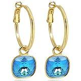Gold Creolen Charm Swarovski Kristalle Ohrringe 925 Sterling Blau NOBEL SCHMUCK