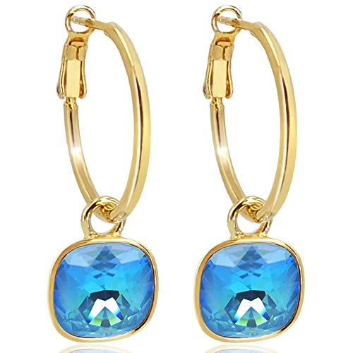 Gold Creolen Charm Swarovski® Kristalle Ohrringe 925 Sterling Blau NOBEL SCHMUCK