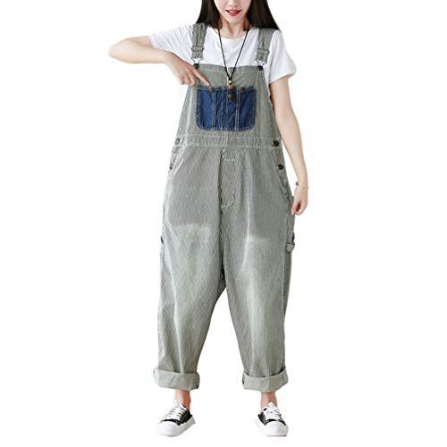 YuanDian Damen Denim Latzhose Weites Bein Drucken Große Größen Overalls Latzjeans Strampler Jeans Boyfriend Loose Fit Mutterschaft übergroße Jumpsuits Hose 9# Gelb