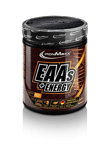 IronMaxx EAAs + Energy (Aminosäuren-Pulver mit Koffein, unterstützt Muskelaufbau, liefert Energy und Fokus) Pfirsich, 1 x 550 g Pulver