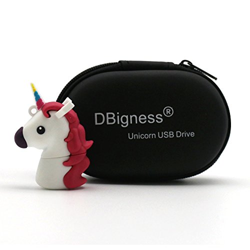 DBigness Lindo Caballo Unicornio Blanco PVC 32 GB USB 2.0 Flash Drives Regalo Divertido de...