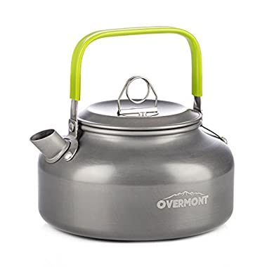 Overmont Camping Kettle Camp Tea Kettle Camping Coffee Pot Aluminum Outdoor Hiking Kettle FDA Approved Camping Gear Portable Teapot Compact and Lightweight with Silicon Handle