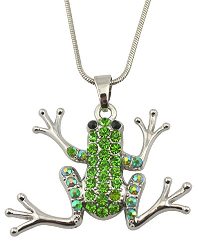 Adorable rana de cristal para mujer Animal collar joyería de regalo de las mujeres niñas