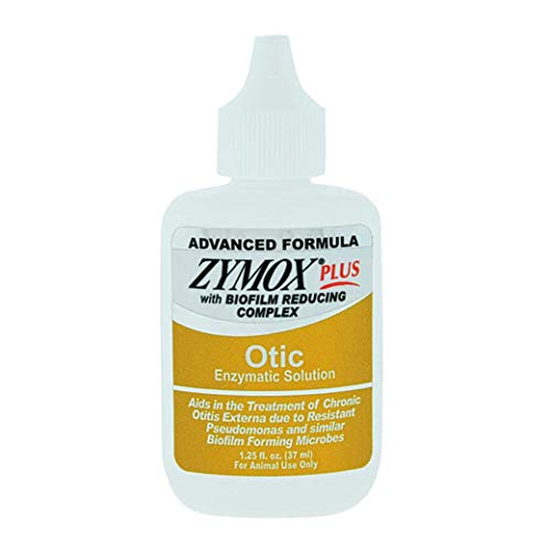 Zymox Advanced Formula Otic Plus Enzymatic Ear Solution for Dogs and Cats without Hydrocortisone, 1.25oz