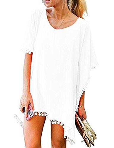Women's Pom Pom Trim Kaftan Chiffon Swimwear Beach Cover Up Bathing Suit Swimwear Bikini Swimsuit Beachwear Dress Shirt (White)