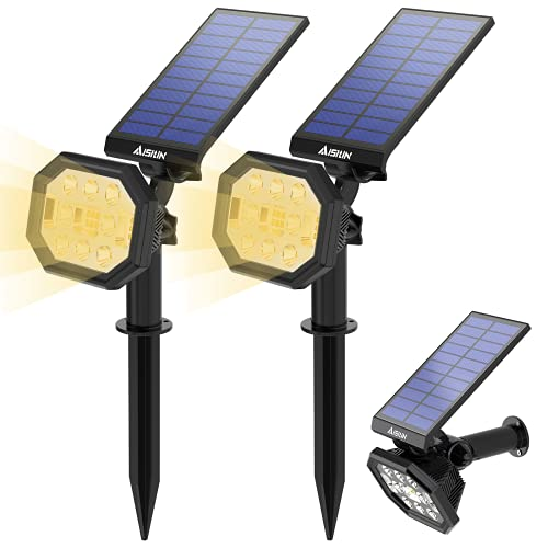 AISITIN Luces Solares Led Exterior Jardin, 2 en 1 Luz Solar Exterior para Jardin, IP65 Luces Solares Impermeables, Luz de pared Ajustable para Jardín, Césped, Pared - Blanco Cálido (2 Pack 22 LED)
