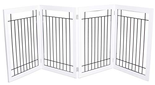 Internet's Best Traditional Wire Dog Gate - 4 Panel - 30 Inch Tall Pet Puppy Safety Fence - Fully Assembled - Durable MDF - Folding Z Shape Indoor Doorway Hall Stairs Free Standing - White