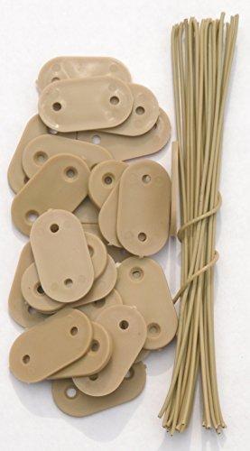 EXCOLO Befestigung Montage-Plättchen Draht Kabelbinder für PVC Sichtschutz Blickschutz (26 Plättchen beige)