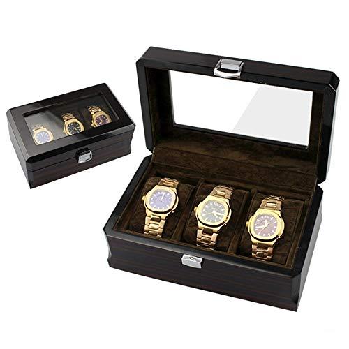 WH-IOE Uhrenbox 3-stellige Uhr Storage Box Farbe Display Box Geschenkbox Uhrenbox hölzerne Uhr Aufbewahrungsbox Watch Display Organizer (Color : Photo Color, Size : 20cmx12cmx8.5cm)