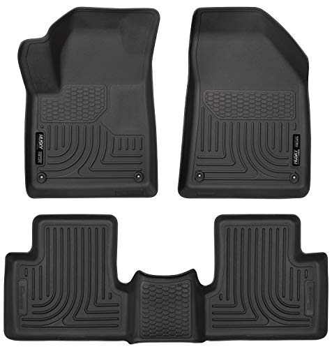 Husky Liners 99091 Black Weatherbeater Front & 2nd Seat Floor Mats Fits 2015-19 Jeep Cherokee