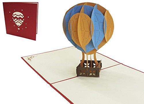 Lin LIN17134, Pop Up Karte Urlaub, 3D Grußkarten Geburtstagskarte Gutschein Ballonfahrt, Heißluftballon, N150