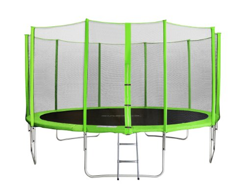 SixBros. SixJump 14FT 4.30 M Garden Trampoline Green - Safety net - Ladder - Protection cover TG430/1768