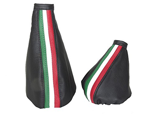Schaltsack/Schaltmanschette und Handbremsmanschette, schwarz, Italienisches Leder, mit Streifen in den Farben der italienischem Flagge