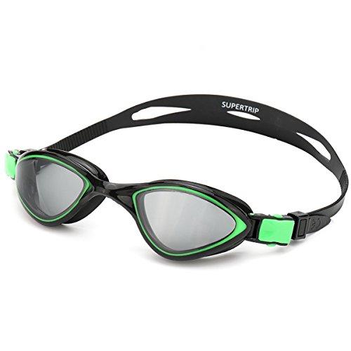 Schwimmbrille Erwachsene-Schwimmbrille Verspiegelte Taucherbrille Mit Antibeschlag und UV Schutz,Taucherbrille mit Wasserdichter für Herren & Damen Schwarz/Grün