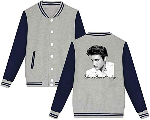 Acosoy Elvis Presley Herren & Damenmode Hoodie Baseballuniform Jacke Sport Mantel Grau