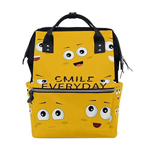 Alinlo Wickeltasche mit lustigem Emoticon-Emoji-Lächeln für den Alltag mit großer Kapazität Multifunktions-Kinderwagen-Gurte Mumien-Taschen für Reisen und Babypflege