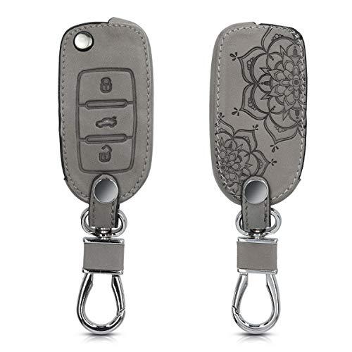 kwmobile Autoschlüssel Hülle kompatibel mit VW Skoda Seat 3-Tasten Autoschlüssel - Kunstleder Schutzhülle Schlüsselhülle Cover Blumen Zwillinge Grau