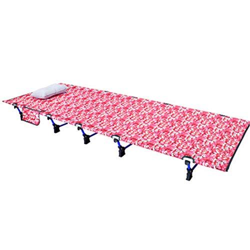 CHENSHJI Cuna Cuna Cuna Plegable para al Aire Libre Camping Cuna Cama Tumbona Plegable para la Caza del Campamento Cama Plegable Individual (Color : Pink, Size : 200×70×17CM)