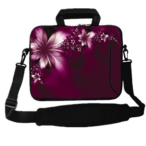 RICHEN 14 15 15.4 15.6 inch Messenger Bag Carring Case Sleeve with Handle Accessory Pocket Fits 14 to 15-Inch Laptops/Notebook/ebooks/Kids Tablet/Pad (14-15.6 inch, Flowers)