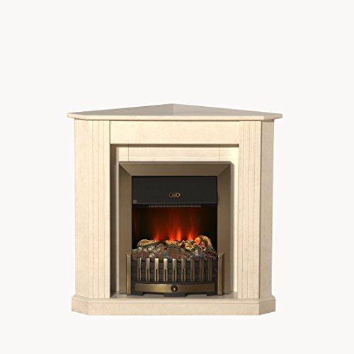 Albero Möbel Elektrokamin Louisiana marmoriert beige/Creme, Opti Myst Flammentechnik,Wasserdampf Feuer, elektrischer Standkamin mit Fernbedienung, regelbare Flammenstärke