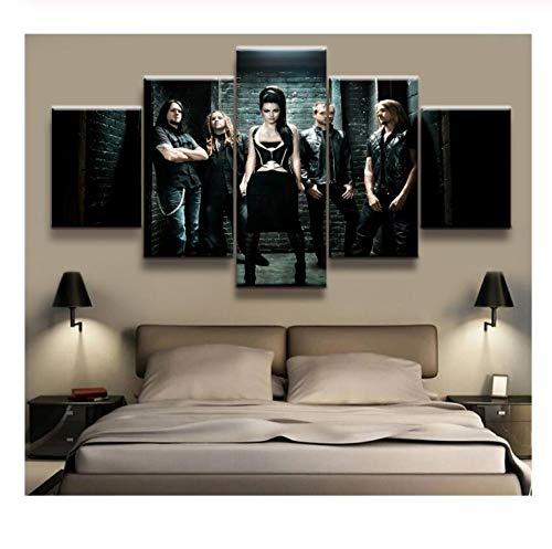 IDzf 5 Panel Evanescence Rock Poster Leinwand Gedruckt Malerei Für Wohnzimmer Wandkunst Dekor Bild Kunstwerke Poster