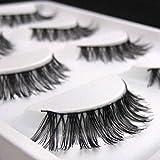 shlutesoy Eyelash with Natural Look 5 Pairs Lot Black Soft Long Messy Cross False Eyelashes Natural Makeup Extension