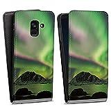 DeinDesign Flip Hülle kompatibel mit Samsung Galaxy A8 Duos 2018 Tasche Hülle Polarlicht Nordlicht Natur