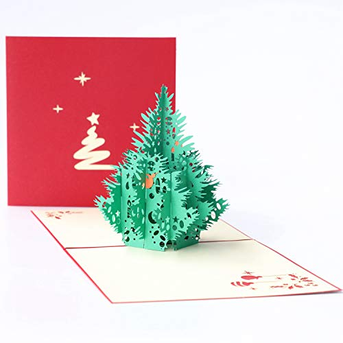 Paper Spiritz Pop Up Christmas Card 3D Holiday Card Laser Cut Handmade Merry Christmas Spring Festival Card with Envelope - Christmas Tree