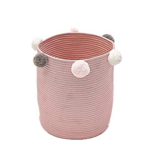 KOET Wäschekorb mit Pompons, natürliches Baumwollgarn, gewebtes Seil, Aufbewahrungskorb, Babyspielzeug, Lunchboxen, Wickeltasche