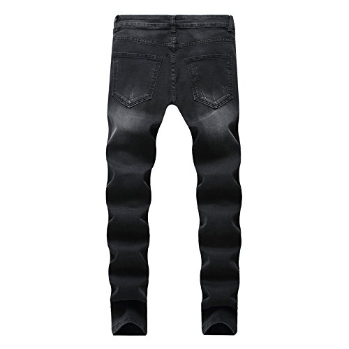 Men's Fashion Skinny Fit Ripped Distressed Camo Patched Stretch Denim Biker Jeans,Black,32