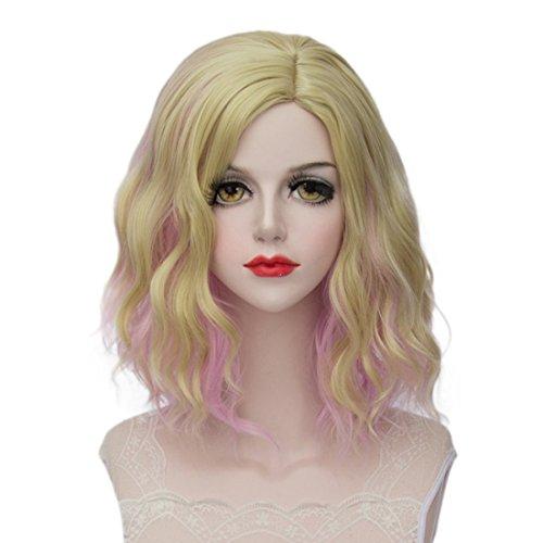 Femme Fille Lolita courte bouclés d'animation Cosplay Perruque 39,9 cm Gradual Couleur + Gratuit Cap